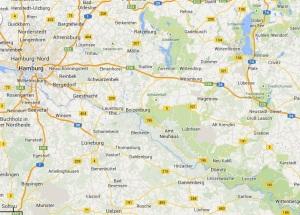 Route Wittenberge nach Hamburg